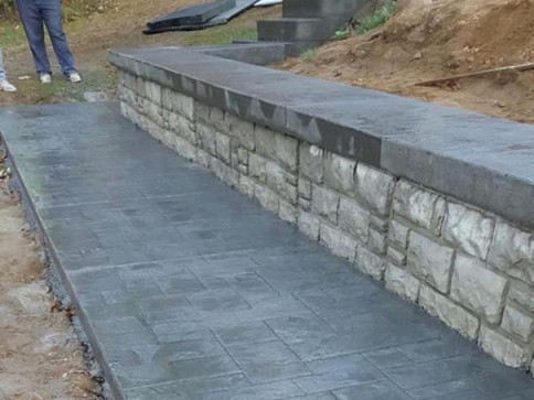 Stamped Retaining Wall and Walkway